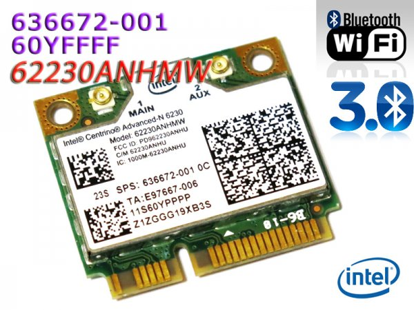 HP/Lenovo純正 Intel Centrino Advanced-N 6230 62230ANHMW 636672-001 60YFFFF 無線LANカード