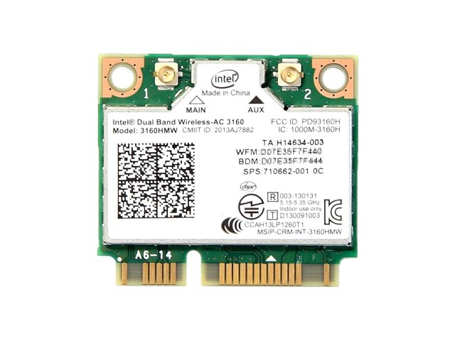 Intel Dual Band Wireless-AC 3160 3160HMW 433Mbps 802.11ac Wi-Fi + Bluetooth 4.0 無線LANカード