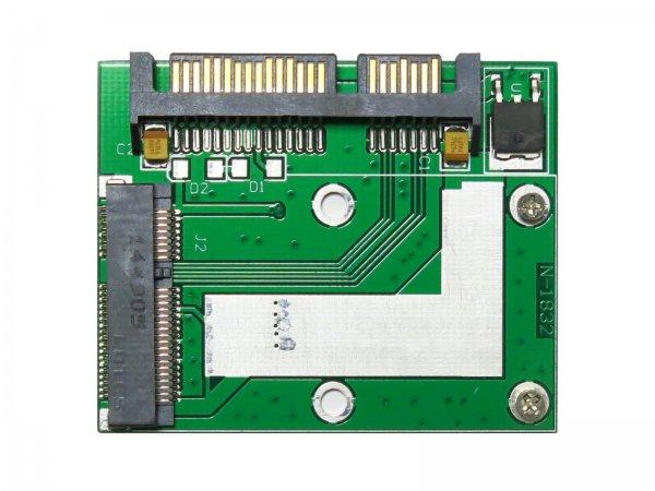 【相性保証付き】 mSATA (Mini SATA)→ ハーフサイズ1.8 / 2.5インチ 22pin SATA 変換アダプター