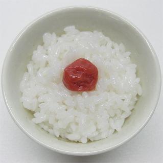 小さめお椀にご飯と梅干し