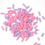 チョコスプレー2色×70粒(ピンク&パープル)