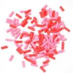 チョコスプレー2色×70粒(ピンク&レッド)
