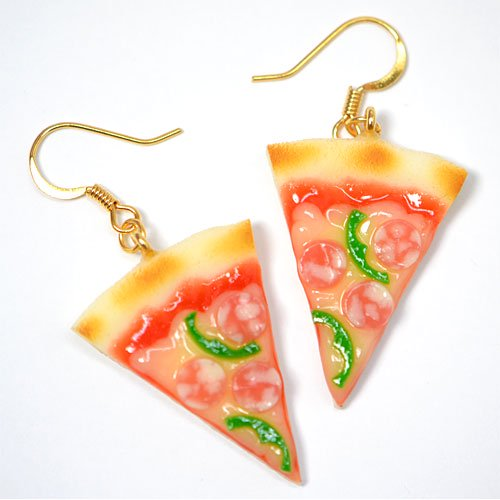 カットピザのピアス(サラミ&ピーマン)