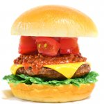 トマトとミートソース入りチーズバーガー