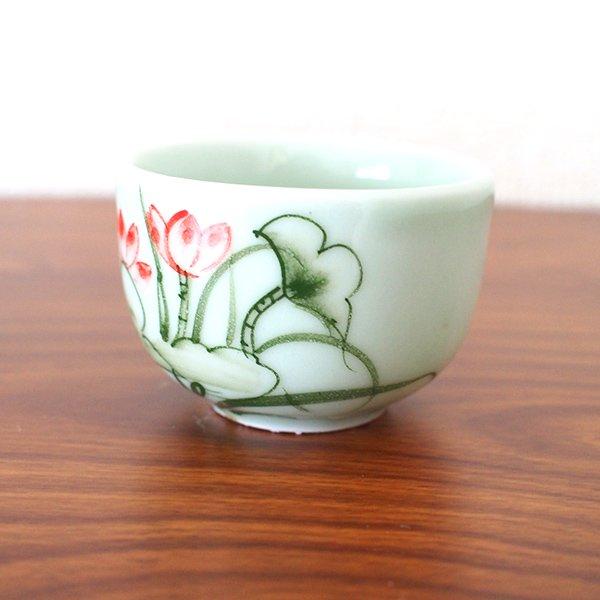 ベトナム バッチャン焼き 湯飲み(中)(蓮 (ロータス )