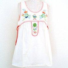 衣料  エスニック 刺繍タンクトップ(ホワイト)