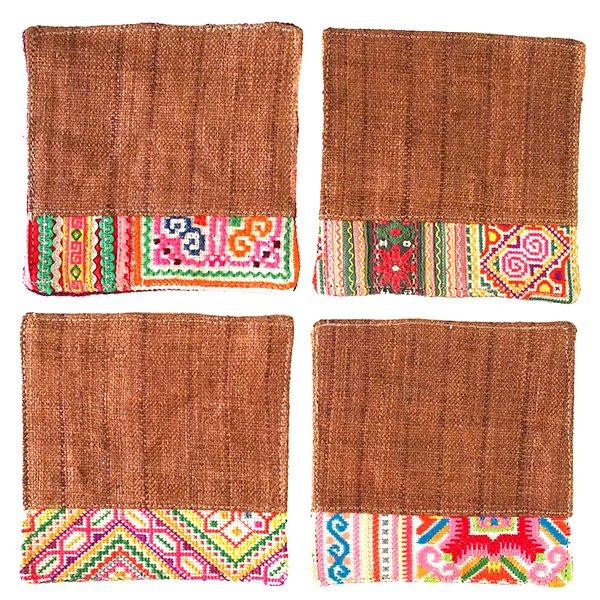 タイ 少数民族 刺繍 布 コースター(ブラウン)