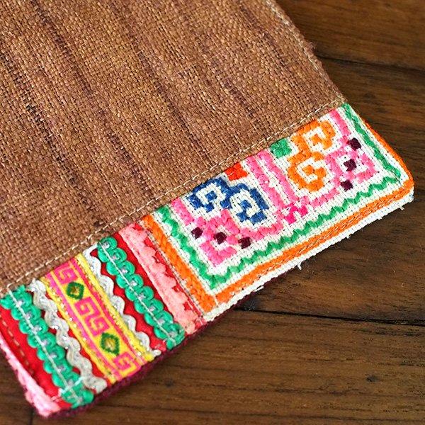 タイ 少数民族 刺繍 布 コースター(ブラウン)【画像2】