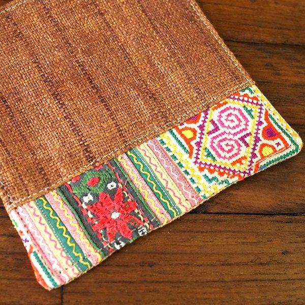タイ 少数民族 刺繍 布 コースター(ブラウン)【画像3】