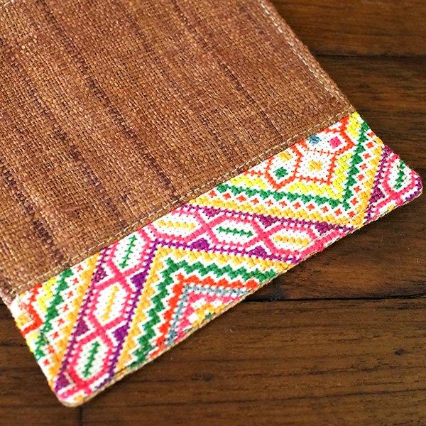タイ 少数民族 刺繍 布 コースター(ブラウン)【画像4】