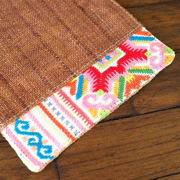 タイ 少数民族 刺繍 布 コースター(ブラウン)【画像5】