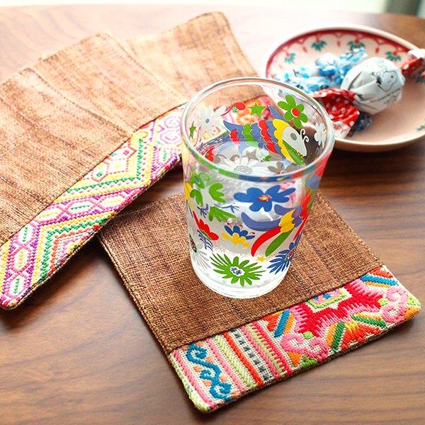 タイ 少数民族 刺繍 布 コースター(ブラウン)【画像8】
