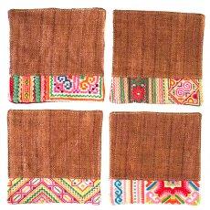 ランチマット / コースター タイ 少数民族 刺繍 布 コースター(ブラウン)