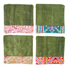 ランチマット / コースター タイ 少数民族 刺繍 布 コースター(グリーン)