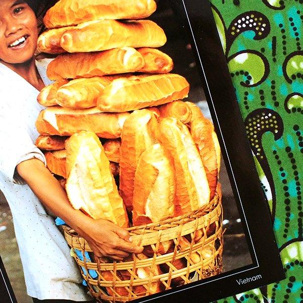 ベトナム ポストカード(フランスパンを抱えた女性)【画像3】