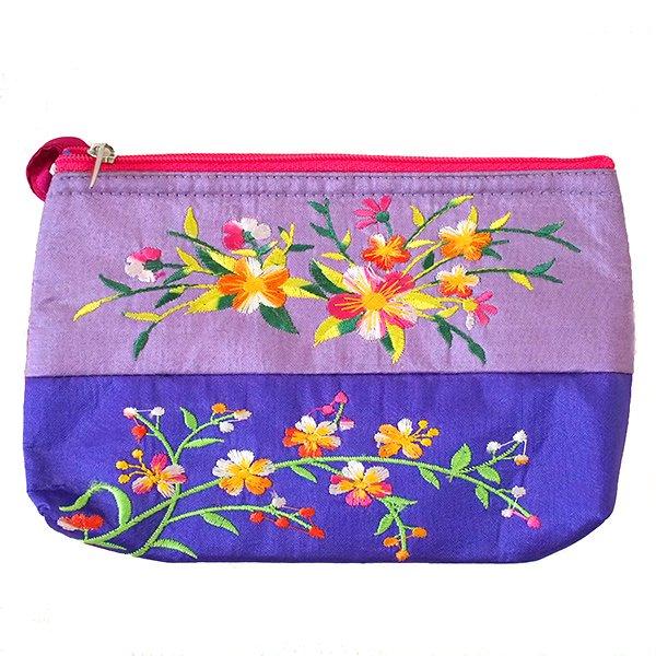 ベトナム 刺繍 ポーチ(シルク 花 2色使い)【画像2】