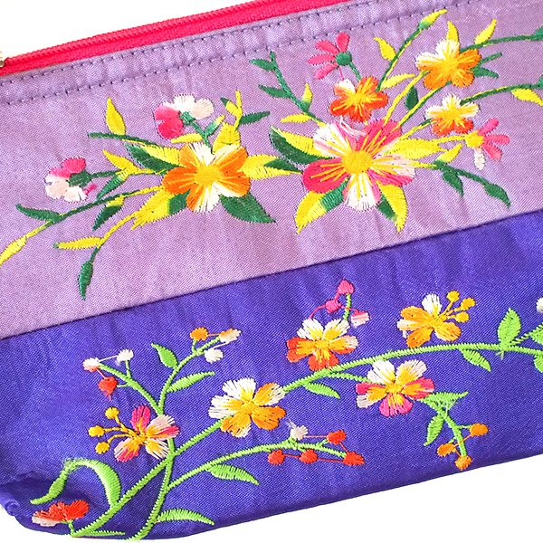 ベトナム 刺繍 ポーチ(シルク 花 2色使い)【画像3】