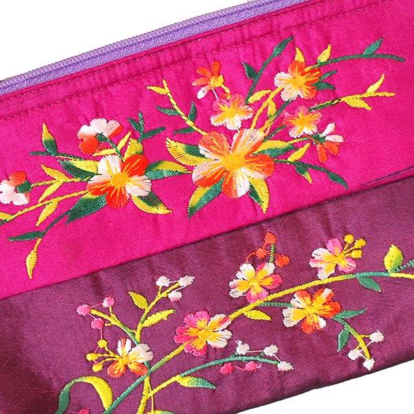 ベトナム 刺繍 ポーチ(シルク 花 2色使い)【画像7】