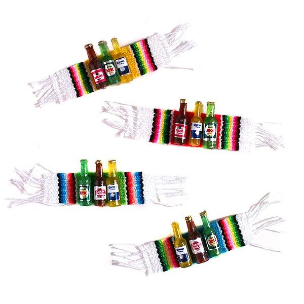 メキシコ ミニミニボトルマグネット(サラペ付き 4色)