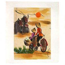アート / ART ベトナム 手描きの絵(シクロに乗る女の子達)
