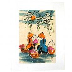 ベトナムの切り絵・手書きの絵 ベトナム 手書きの絵(お花摘みの休憩時間)