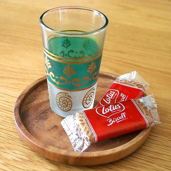 モロッコ カラフルなプリントグラス(金色の葉っぱ)
