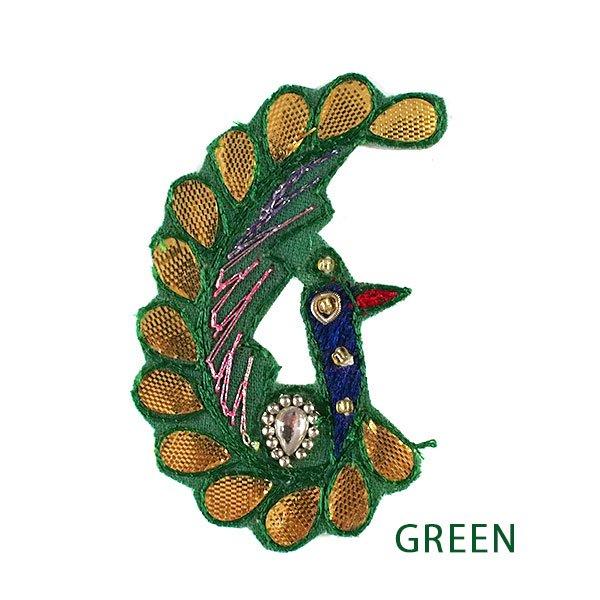インド 刺繍 ワッペン (ピーコック 孔雀 3色)【画像3】