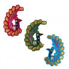 トリ (鳥) 雑貨 インド 刺繍 ワッペン (ピーコック 孔雀 3色)