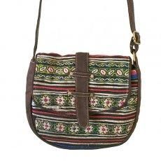 茶・ブラウン 雑貨 ベトナム 少数民族 モン族 刺繍 斜めがけバッグ(ブラウン系)