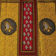 茶・ブラウン 雑貨 アフリカン プリント布 キテンゲ 105×100 カットオフ(トウモロコシのタペストリー)