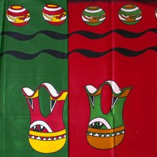 アフリカ 布 キテンゲ タンザニア アフリカ布 キテンゲ(壺と水瓶 グリーン)