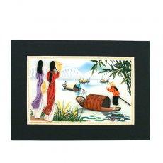 アオザイモチーフ ベトナム クイリングアート 【Quilling art】 12×17  船とアオザイの女の子