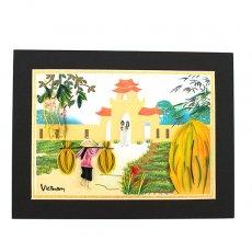 アオザイモチーフ ベトナム クイリングアート 【Quilling art】12×17 天秤棒とアオザイの女の子達