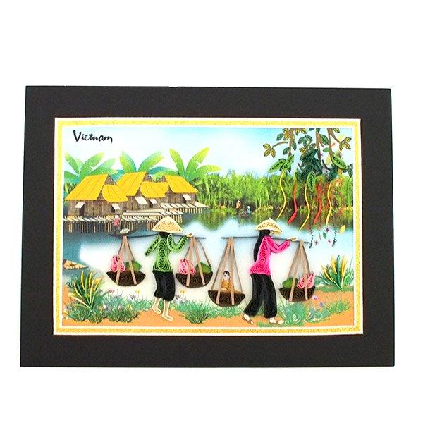 ベトナム クイリングアート 【Quilling art】12×17 天秤棒で蓮を摘む女性