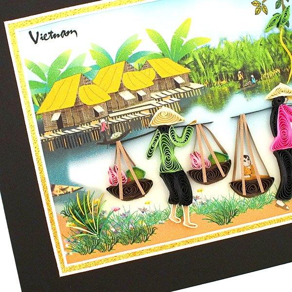 ベトナム クイリングアート 【Quilling art】12×17 天秤棒で蓮を摘む女性 【画像2】