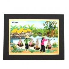 Quilling Art (クイリング アート) ベトナム クイリングアート 【Quilling art】12×17 天秤棒で蓮を摘む女性