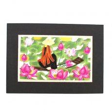 ベトナム クイリングアート 【Quilling art】12×17 蓮を摘む