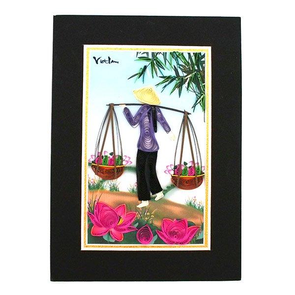 ベトナム クイリングアート 【Quilling art】17×12 天秤棒を担ぐ女性と蓮