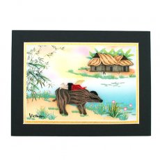 ベトナム クイリングアート 【Quilling art】12×17 水牛の背に乗る少年