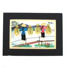 Quilling Art (クイリング アート) ベトナム クイリングアート 【Quilling art】12×17 稲を運ぶ女性たち