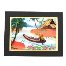 アート / ART ベトナム クイリングアート 【Quilling art】12×17 花を摘む船