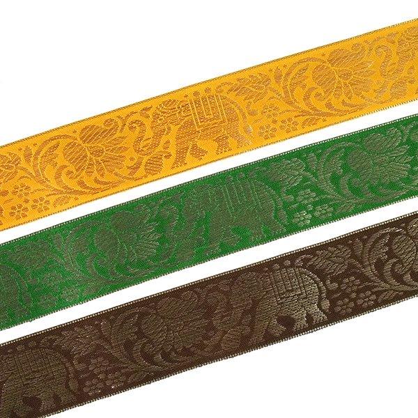 インド チロリアンテープ 蓮(ハス)とゾウ 3色 手芸(幅4cm/1m単位売り)