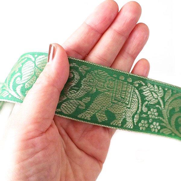 インド チロリアンテープ 蓮(ハス)とゾウ 3色 手芸(幅4cm/1m単位売り)【画像5】