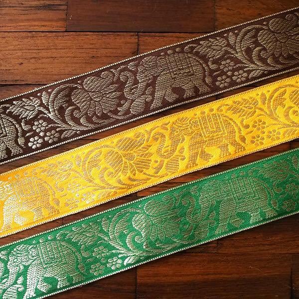 インド チロリアンテープ 蓮(ハス)とゾウ 3色 手芸(幅4cm/1m単位売り)【画像6】
