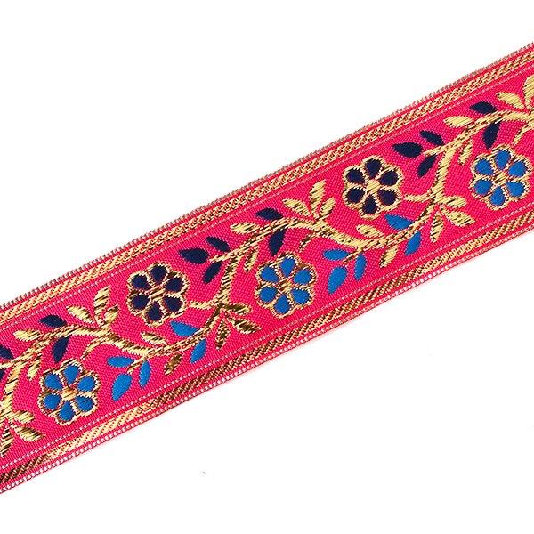 インド チロリアンテープ 花 刺繍 6色 (幅4cm/1m単位売り)【画像2】