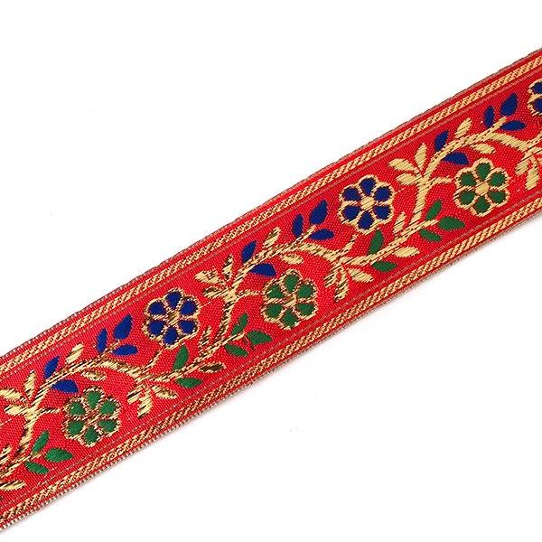 インド チロリアンテープ 花 刺繍 6色 (幅4cm/1m単位売り)【画像4】
