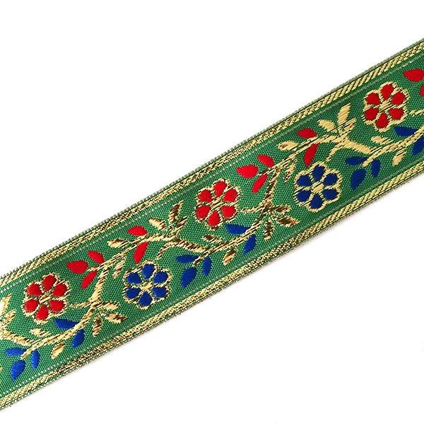 インド チロリアンテープ 花 刺繍 6色 (幅4cm/1m単位売り)【画像5】