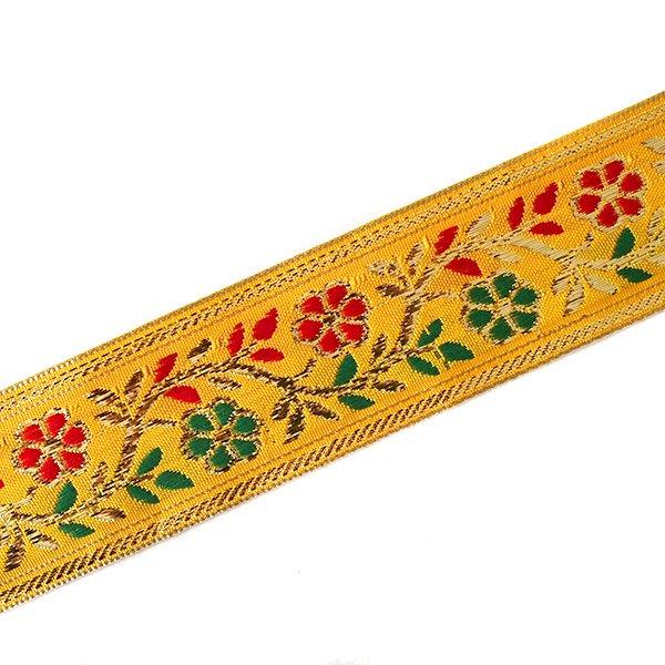 インド チロリアンテープ 花 刺繍 6色 (幅4cm/1m単位売り)【画像6】