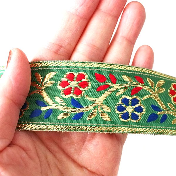 インド チロリアンテープ 花 刺繍 6色 (幅4cm/1m単位売り)【画像9】