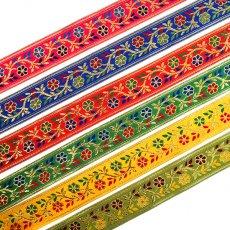 インド チロリアンテープ 花 刺繍 6色 (幅4cm/1m単位売り)